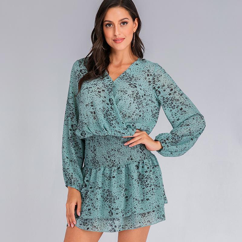 Women Floral Print Long Sleeve Mini Dress Casual High Waist Beach Short Dress