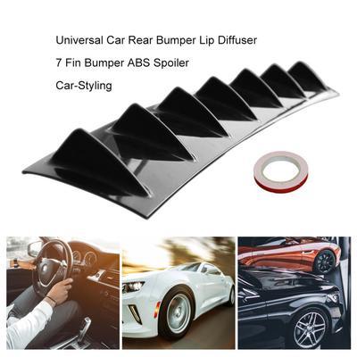 3pcs Universal Car Black Rear Bumper Diffuser Kit Shark Fin Moulding Chunks PVC