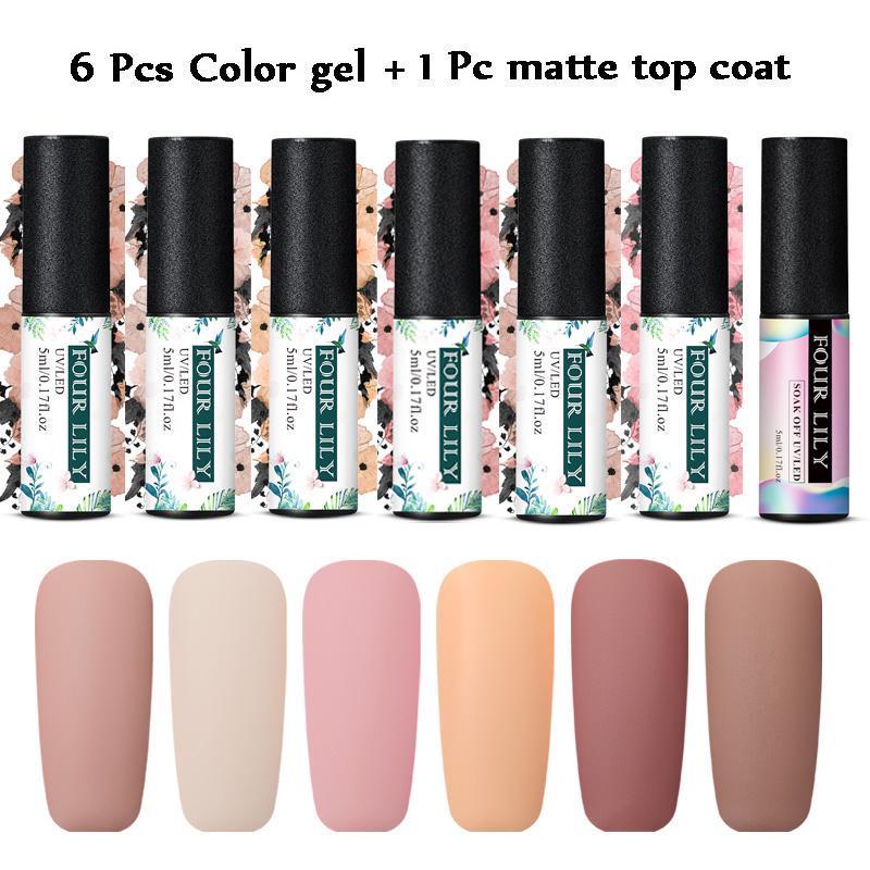 7pcs/set Color Gel Nail Polish Matte Top Coat Soak Off Art Varnish Manicure