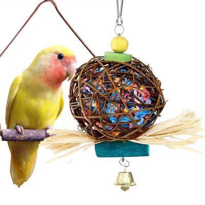 Pet Bird Toy Parrot Rattan Ball Chewing Ball Parakeet Cockatiel Budgie Hang Toys