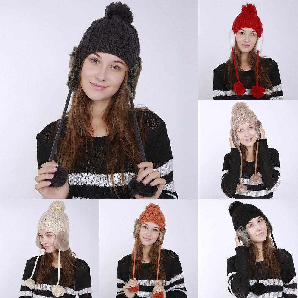 35a2655ee7916 Women Warm Crochet Winter Wool Knit Ski Beanie Caps Hat Protect Ears Hairy  Bulb-buy at a low prices on Joom e-commerce platform