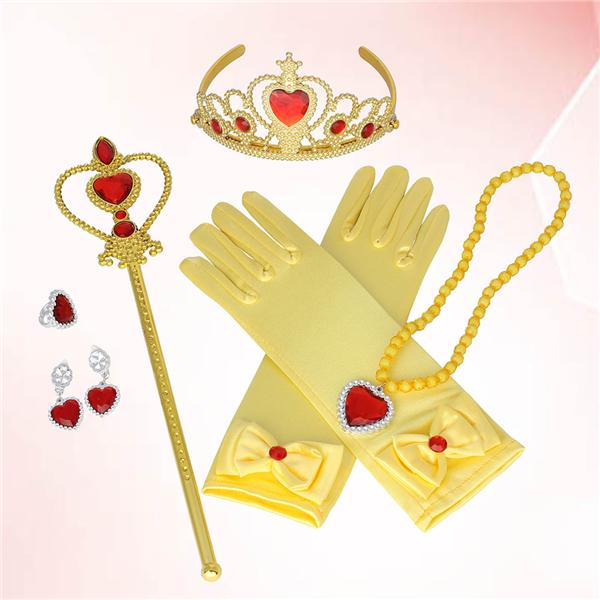 6Pcs Fashion Durable Elegant Small Stylish Ring Necklace Jewelry Set Gloves Wand for Kids Children