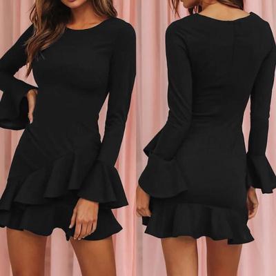 Women Fashion Butterfly Sleeve Solid O-Neck Dress Ladies Casual Loose Mini Dress Women