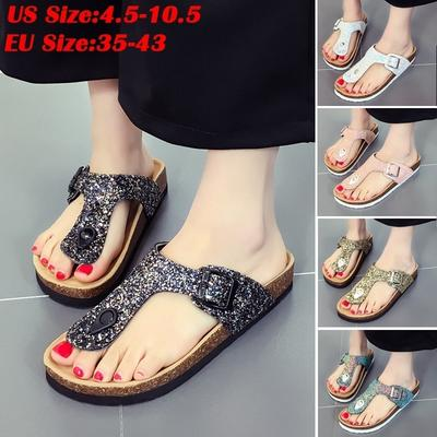 065b4f538 Dandel Flip Flops Women Summer Sandals Slippers Burken Lady Cork Sequin  Beach Flip Flops
