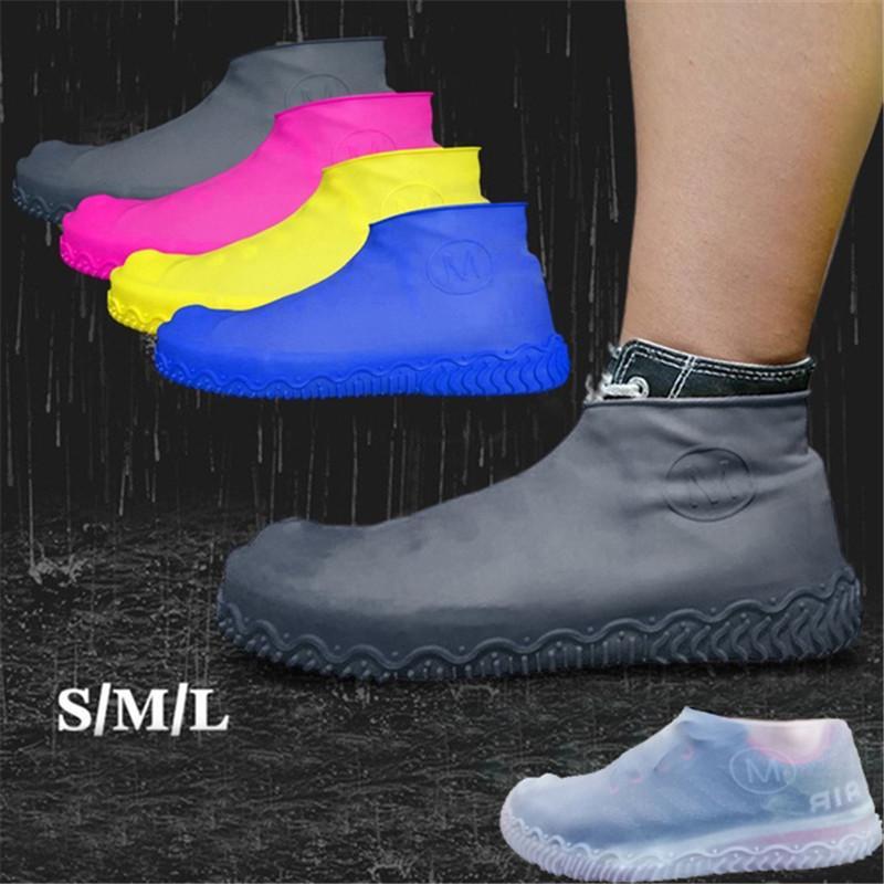 Reusable Fastening Tape Rain Shoe Covers Waterproof Overshoes Boots Anti-Slip