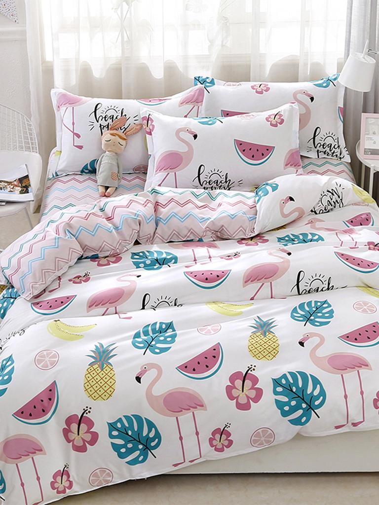 e34551ae5f SHEIN Flamingos & Fruit Print Sheet Set-buy at a low prices on Joom ...