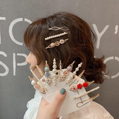 3Pcs Pearl Metal Hair Clip Girl Fashion Hairpin Pearl Gemstone Sweet Headdress