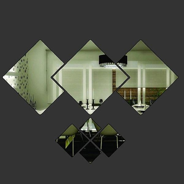 Modern 3D Mirror Stickers Rhomb Shaped Wall Decals For Home Room Decoration