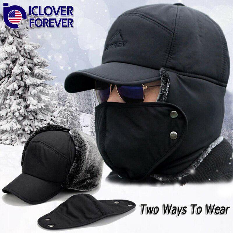 Unisex Winter Warm Ski Hat Waterproof Winter Warm Cycling Hat With Goggles Windproof Thick Polar Fleece Line Trapper Hat With Ear Flap For Outdoor Activities Bomber Hat Cap