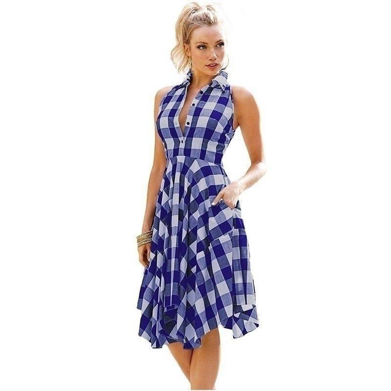 Vintage vestido Casual irregular verano rodilla camisas vestido ...
