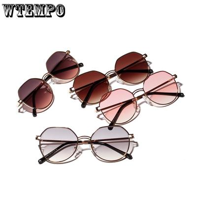 b21b6f811b WTEMPO Polygonal stainless steel sunglasses Transparent UV protection lens  large frame sunglasses