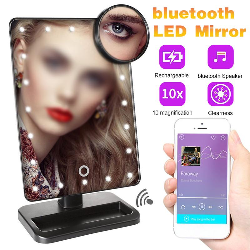 20 Led Lights Makeup Vanity Mirror, Makeup Mirror With Light And Bluetooth Speaker