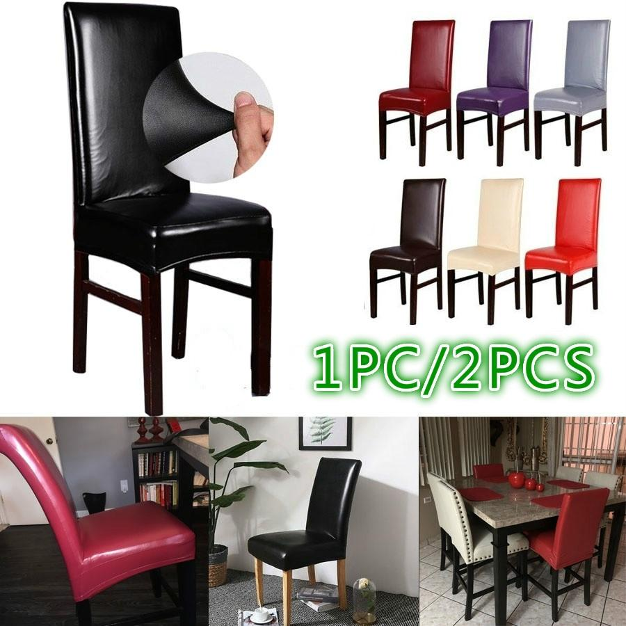 2pcs Spandex Stretch Dining Chair Seat Covers Wedding Banquet Party Decor