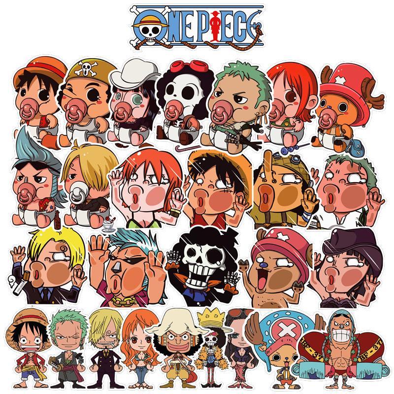 60pcs One Piece Anime Cartoon Laptop Stickers Waterproof Car Bike Luggage Decor