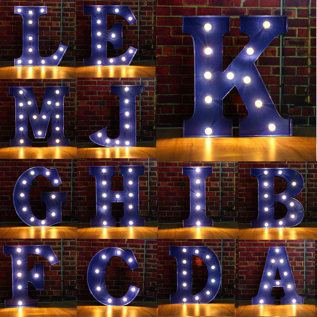 A-Z Blue LED Alphabet Letters Standing Hanging Light UP Wedding Party Decor Xmas