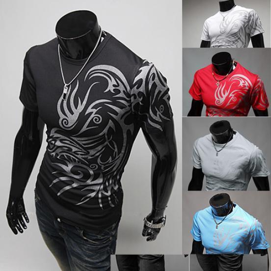 亚洲码男装圆领短袖T恤的新纹身NB013