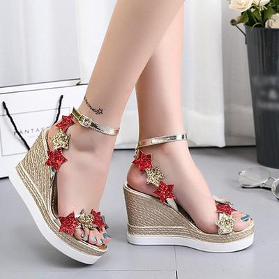 f02749bb7 Women's Wedges Sandals High-heeled Platforms Open Toe All-match Women's  Breathable Shoes