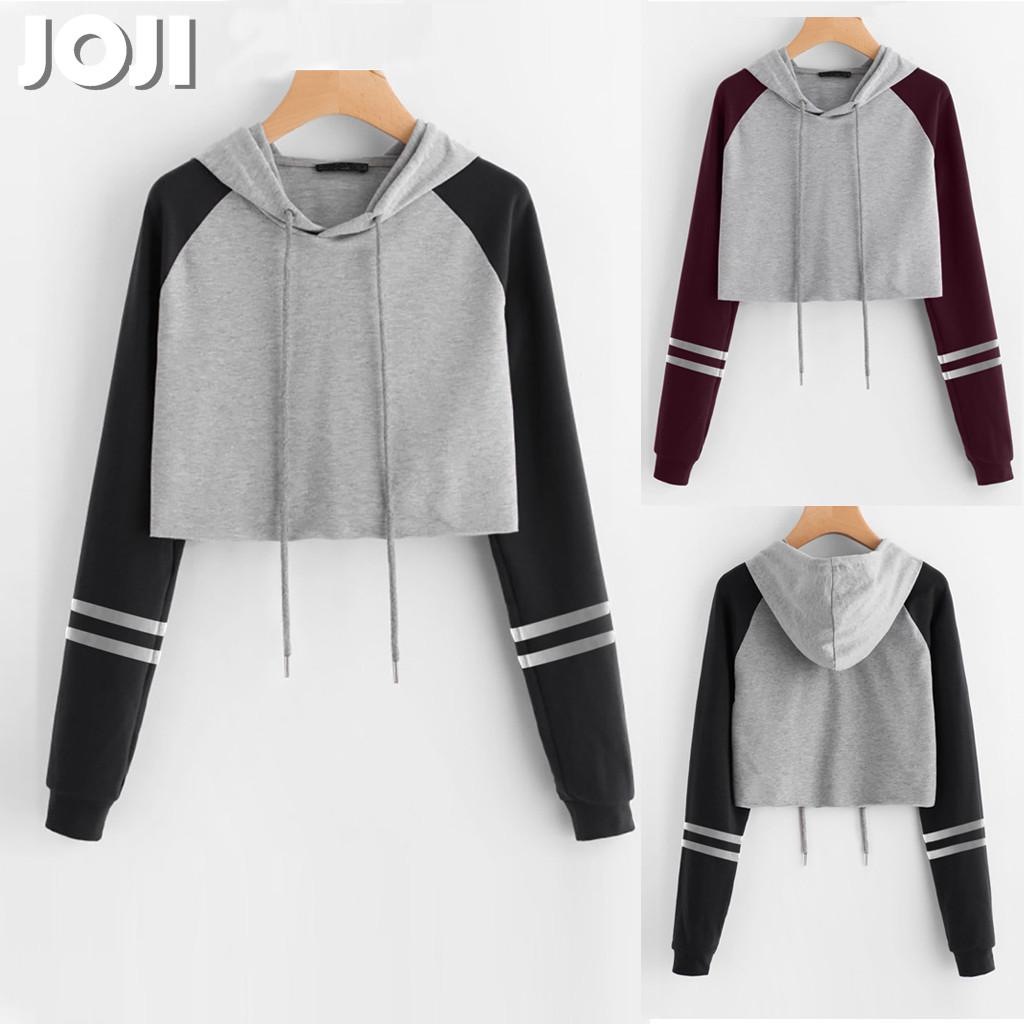 Crop Top Blouses for Women,Loose Round-Neck Letter Long Sleeve Splice Hooded Sweatshirt Short Pullover Tops Blouse