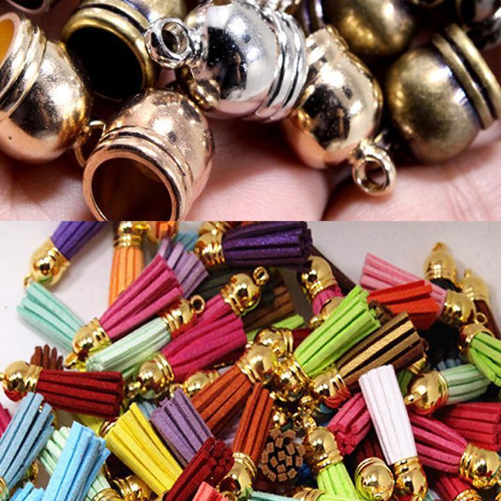 50pcs Tassel Caps Set End Cap Jewelry DIY Making Gold//Silver 8//10//12mm Crafts