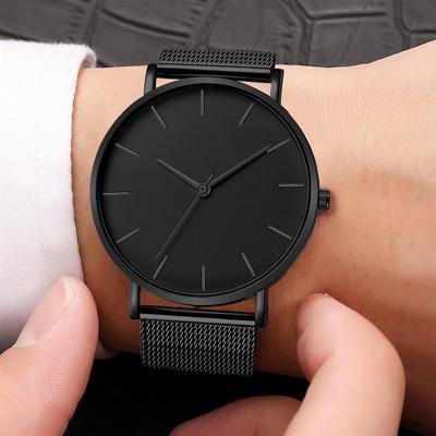 MenS Watch Quartz Casual Watch Simple Metal Stainless Steel Clock