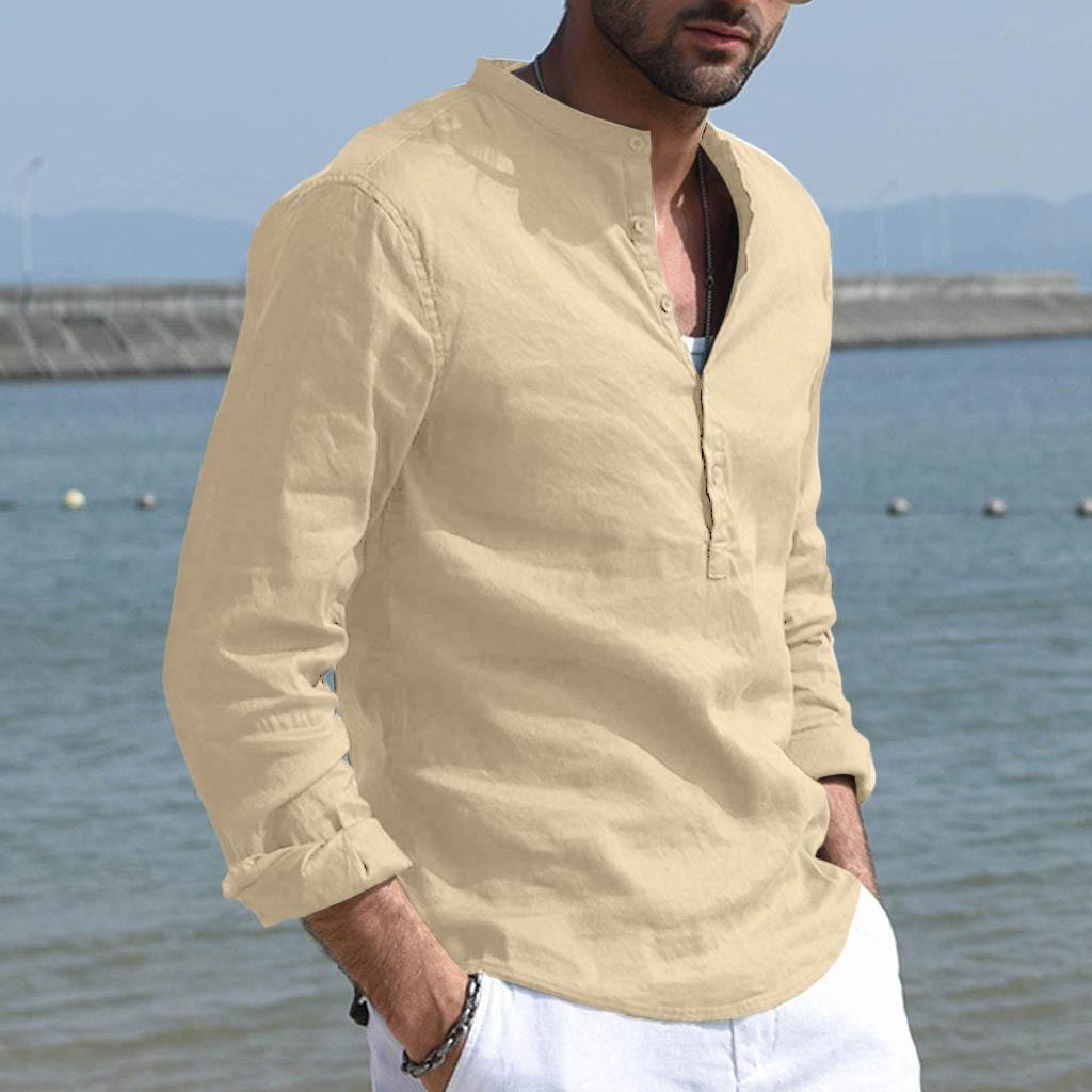 Mens Long sleeve Cotton Linen Western style Shirts Blouses Lapel Casual Tops New