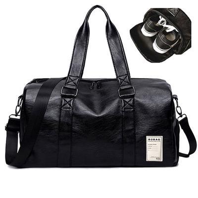 High Capacity Black Gym Fitness Bags Men Women Pu Leather Sports Shoulder  Bag Travel Luggage Handbag 60c986afd46f0