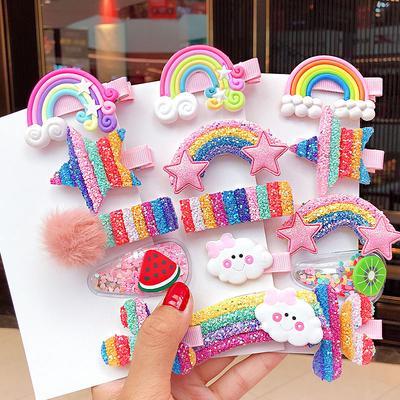 Details about  /5PCS Star Flower Rainbow Hairpins Kids Sweet Hair Clips Barrette Hair Ornament