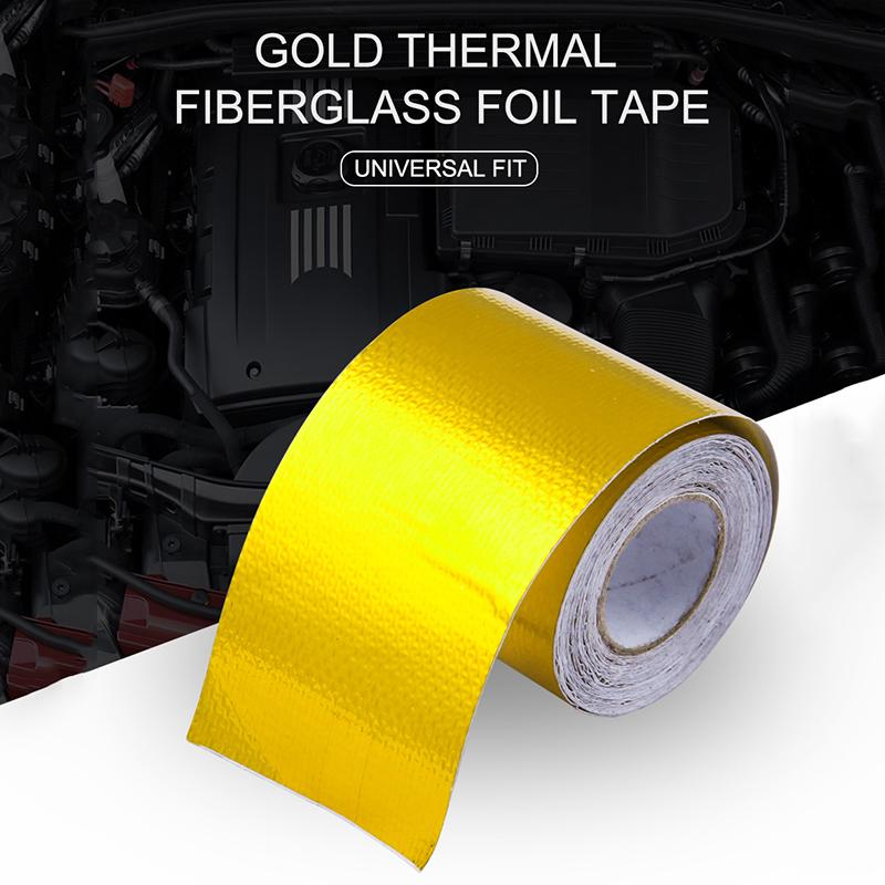Gold Fiberglass Wrap Barrier Tape Heat Shield Roll Exhaust Protection For Car