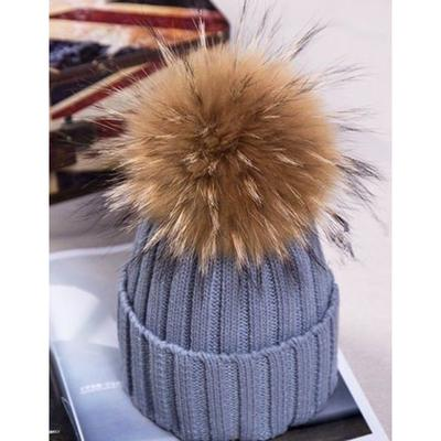 Winter Beanie Wool Knit Hat Raccoon Fur Double Big Ball Pompom Bobble Ski Cap