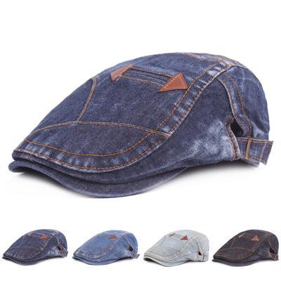 Unisex Vintage Style Flat Beret Hat Adjustable Denim Newsboy Cap Golf Driving  Caps c5b0939f534a