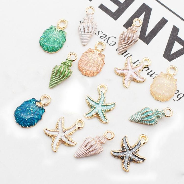 26 Pcs//Lot Ocean Starfish Shell Conch Sea Enamel Charms DIY Bracelet Necklace