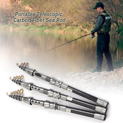 Carbon Fiber Telescopic Fishing Rod Retractable Travel Spinning Fishing Pole Saltwater Boat Sea Rod