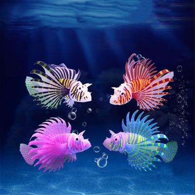 Artificial Luminous Lionfish Fish Tank Aquatic Landscape Silicone Jellyfish Fish