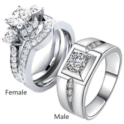 4f3fed0285 Couple Rings White Rhinestone Filled Mens Ring Women Wedding Band Ring Sets  Jewelry