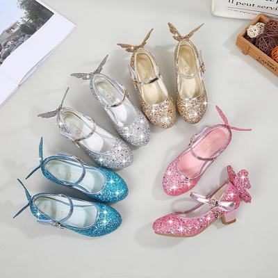 Girls' High Heel Princess Shoes Children's Single Shoes Performance Shoes Crystal Shoes