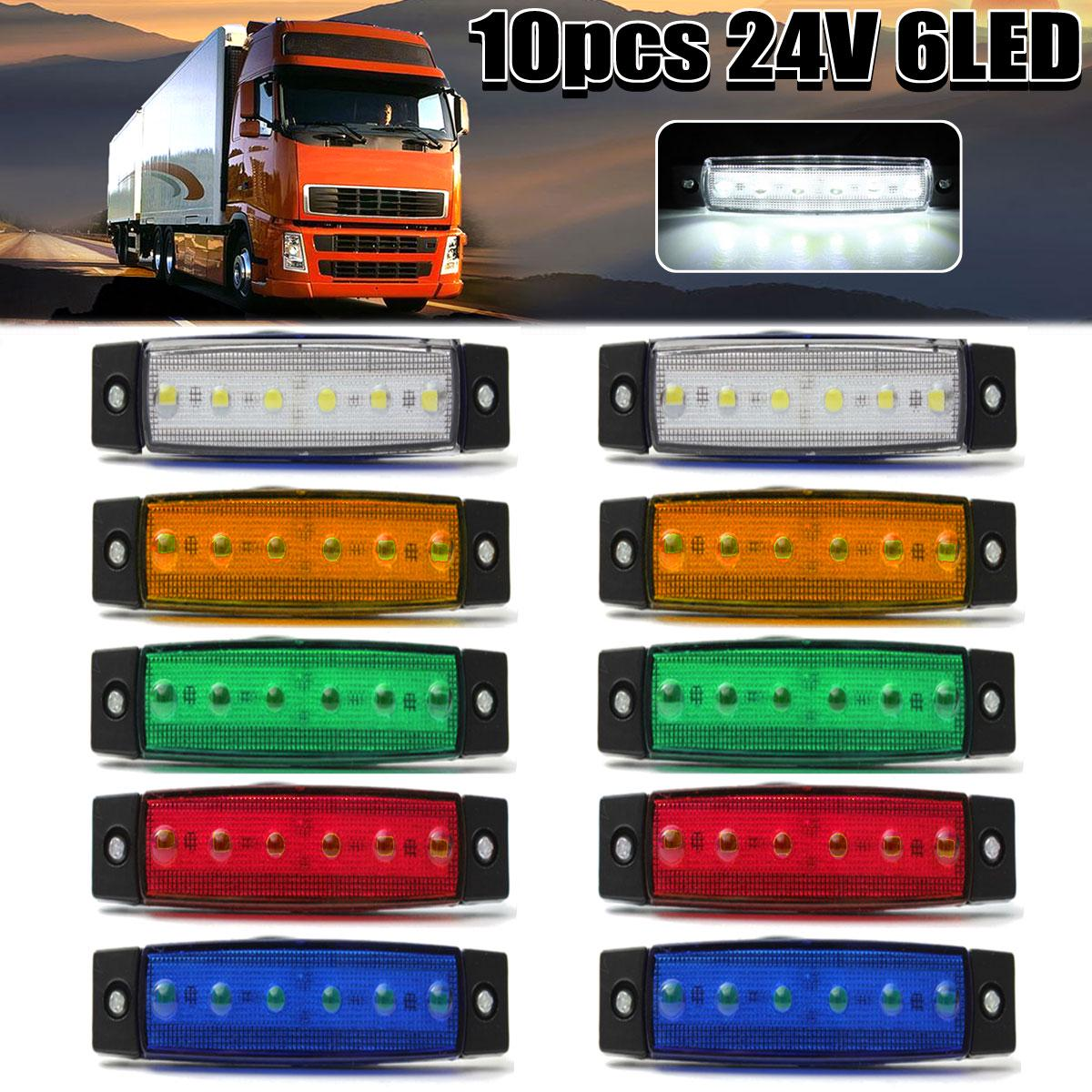 60/30/10/5/1 PCS 24V 6 LED Side Marker Indicator Light Signal lamp External Lights Rear Tail Lamp Lighting DRL For Car Vehicle Bus Truck Trailer Lorry