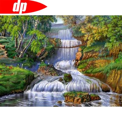 Rhinestone Painting Round Diamond Stitch Embroidery 5D Water Flowing Landscape