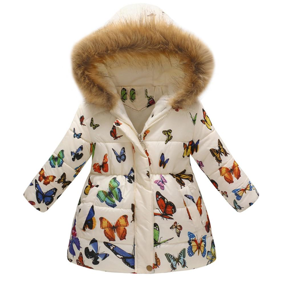 Toddler Kids Baby Boy Girl Winter Thick Warm Coat Hooded Padded Jacket Clothes U