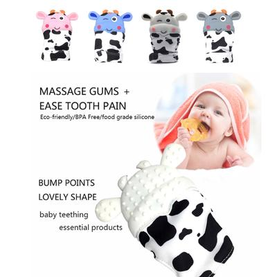 Cute Cow Silicone Teethers Baby Pacifier Glove Newborn Teething Chewable Mittens
