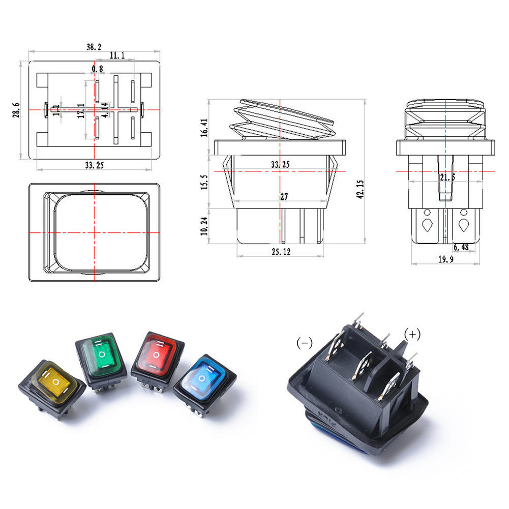 Rocker Toggle Switch On-off-on 4 Pins 12v Dc Car Boat Automobiles Waterproof Led Latching Switches Marine Hardware Atv,rv,boat & Other Vehicle