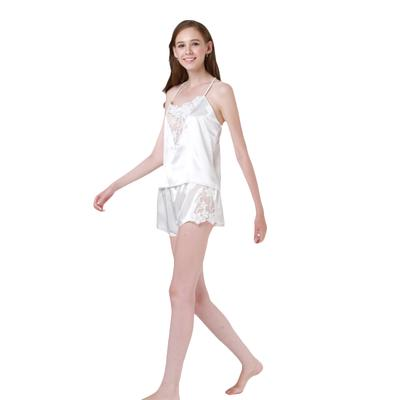 49ec71ed78 Sexy Pajama Sets Lace Satin Top And Shorts Pajama Set Women Sleeping Wear  Summer Sleeveless White