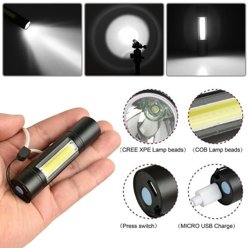 30000LM COB LED Flashlight Mini USB Torch Zoom Lantern With Built-in Battery