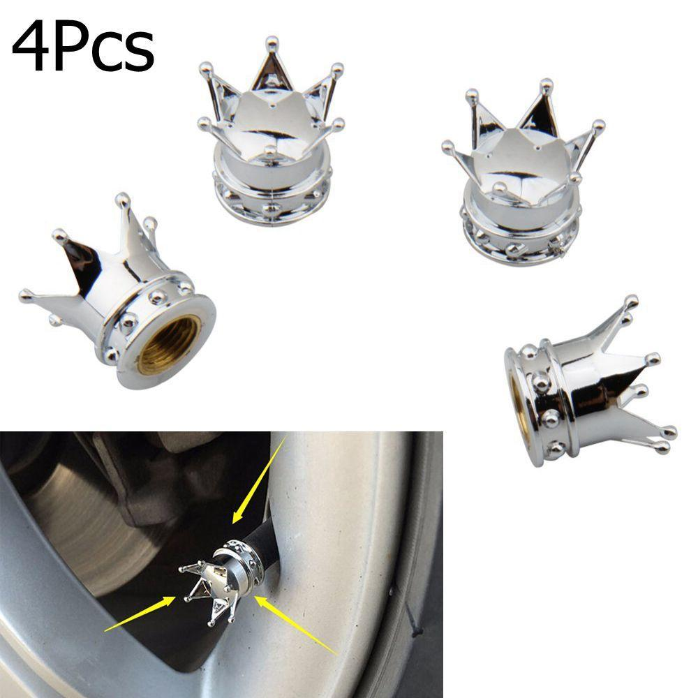 Universal 4pcs Pink Crown Style Car Tire Air Valve Stems Cover Caps Wheel Rims