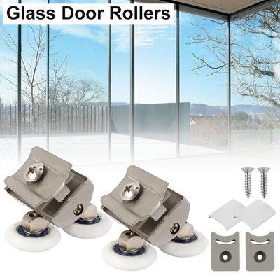 4PCS//Set Heavy Duty Twin Bottom Shower Door Rollers Runners Sliders Rust-proof Bathroom Door Wheels