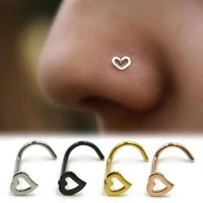 Fashion Punk Stainless Steel Love Nose Ring Stud Earring Nostril