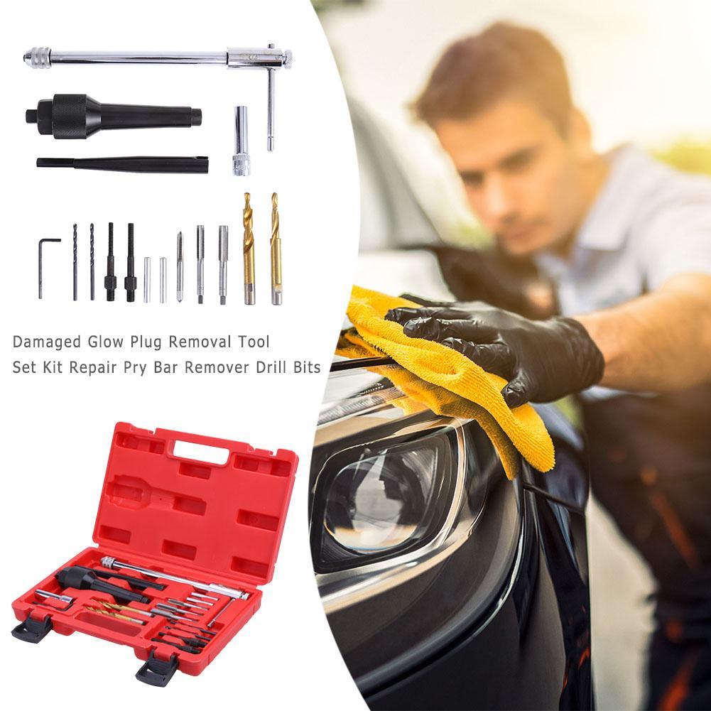 Damaged Glow Plug Removal Tool Set Kit Repair Pry Bar Remover Drill Bits