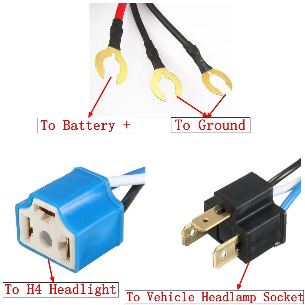 7 H4 Headlight Relay Harness Wire Halogen Ceramic Controller Light New Bulb Male Connector Wiring Plug Socket 1 Of 4