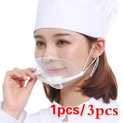 Transparent Mask Catering Special Cook Food Anti-fog Hotel Plastic Kitchen Restaurant Smile