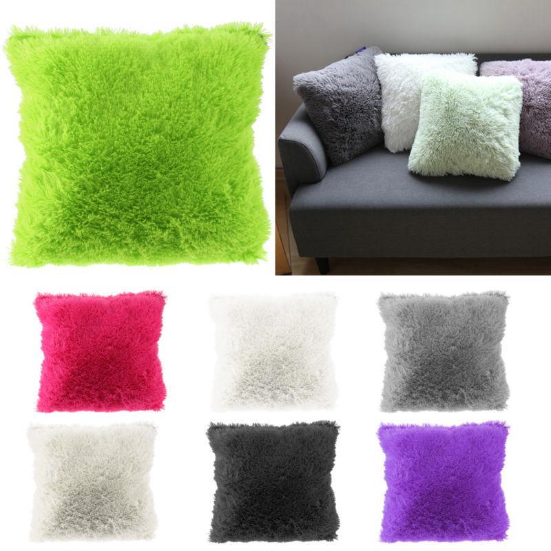 Мягкие плюшевые искусственного меха подушки охватывает дома декоративные подушки обложке бросить подушки диван дома наволочка фото