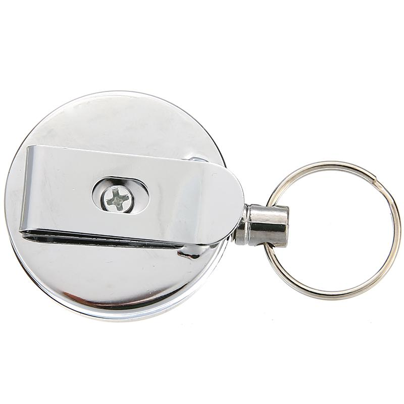 Retractable Creative Keychain Stainless Steel Recoil Ring Belt Clip Pull Keyring